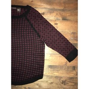 Maroon and black houndstooth sweater